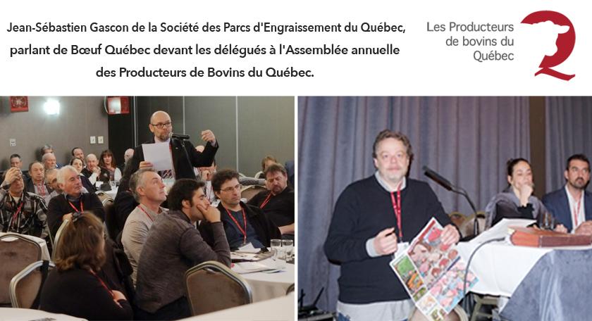 Jean Sébastien Gascon , de la Société des Parcs d'Engraissement du Québec, parlant du Programme Bœuf Québec
