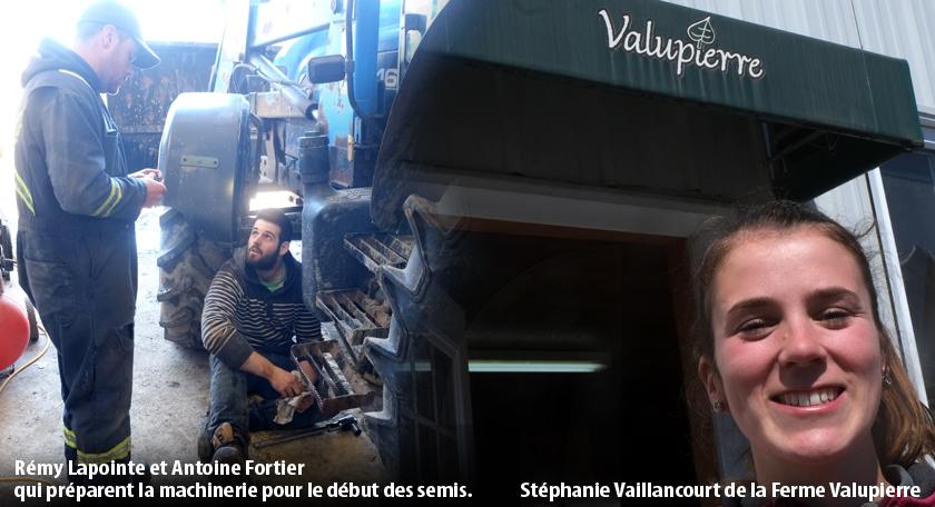 Rémy Lapointe et Antoine Fortier qui préparent la machinerie pour le début des semis. Stéphanie Vaillancourt de la Ferme Valupierre.
