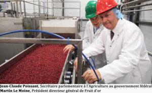 Jean-Claude Poissant, Secrétaire parlementaire à l'Agriculture au gouvernement fédéral Martin Le Moine, Président directeur général de Fruit d'or