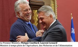 Le Premier Ministre, Philppe Couillard, Laurent Lessard Ministre à temps plein de l'Agriculture, des Pêcheries et de l'Alimentation