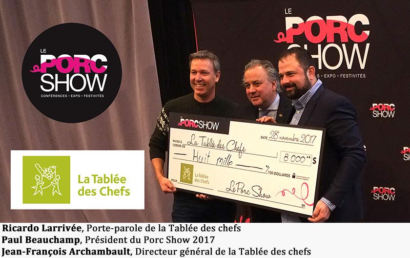 Ricardo Larrivée, Porte-parole de la Tablée des chefs, Paul Beauchamp, Président du Porc Show , Jean-François Archambault, Directeur général de la Tablée des chefs.