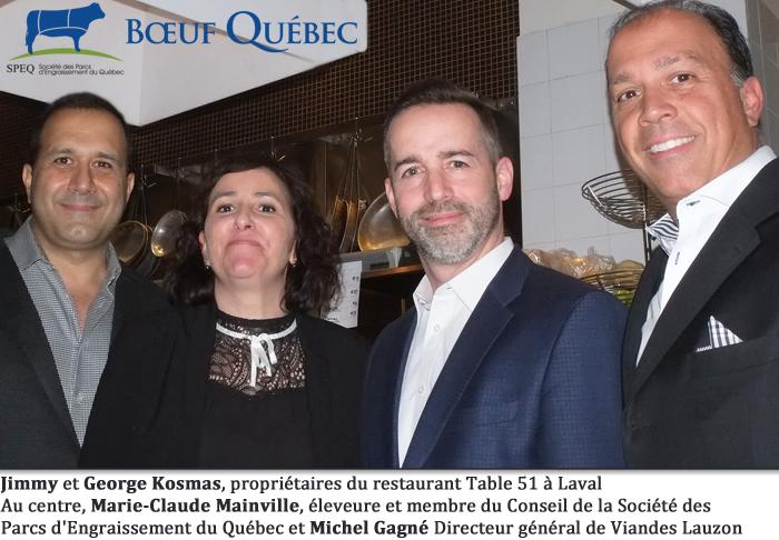 Jimmy et George Kosmas, propriétaires du restaurant Table 51 à Laval Au centre, Marie-Claude Mainville, éleveure et membre du Conseil de la Société des Parcs d'Engraissement du Québec et Michel Gagné Directeur général de Viandes Lauzon