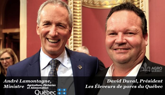 André Lamontagne, MAPAQ, David Duval, Les Éleveurs de porcs du Québec