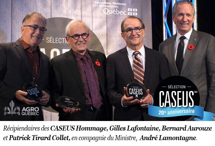 Gilles Lafontaine, Bernard Aurouze, Patrick Tirard Collet, en compagnie du Ministre André Lamontagne.