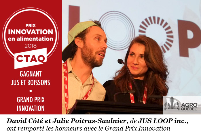 Jus Loop, David Côté, Julie Poitras-Saulnier, Grand Prix entreprise innovante